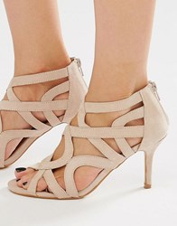 Oasis Cut Out Heeled Sandals Nude Beige