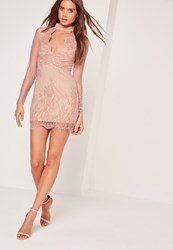Missguided Long Sleeve Choker Neck Bodycon Dress Pink Red