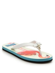 Kate Spade Fifi Charm Rubber Thong Sandals White