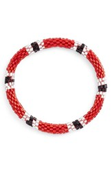 Women's Aid Through Trade Roll On Beaded Stretch Bracelet Red White Black Stations