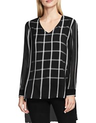 Vince Camuto Long Sleeve V Neck Striped Duet Blouse Black White