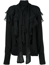Faith Connexion Ruffle Front Shirt Black