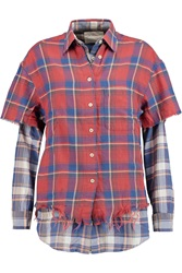 R 13 Double Layered Plaid Cotton Shirt