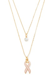 Forever 21 Breast Cancer Ribbon Necklace Set Pink Gold
