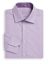 English Laundry Regular Fit Micro Check Cotton Dress Shirt Light Blue
