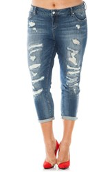 Plus Size Women's Slink Jeans Distressed Roll Cuff Stretch Boyfriend Jeans Chelsea