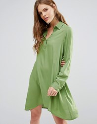 Noisy May Debby Asymetric Shirt Dress Forest Green
