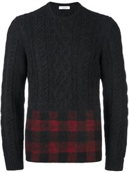 Valentino Tartan Panel Cable Knit Jumper Grey