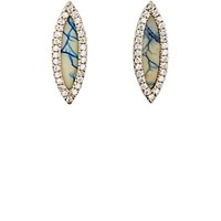 Monique Pean Women's White Diamond And Azurite Navette Stud Earrings No Color