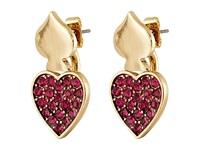 Betsey Johnson Casino Royale Pave Heart Front Back Earrings Pink Earring