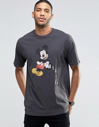 Asos Oversized T Shirt With Vintage Mickey Mouse Print And Wash Black