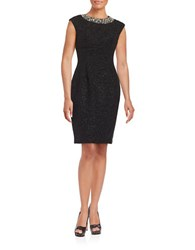 Eliza J Beaded Collar Cap Sleeve Sheath Dress Black