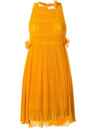 Sonia Rykiel Pleated Short Dress Yellow And Orange
