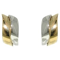 Finesse Two Tone Wave Clip On Earrings Gold Silver