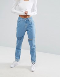 Noisy May Mom Jean With Scribble Detail And Raw Hem Light Blue