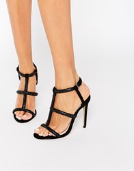 Faith Laroux Black Embellished Strappy Heeled Sandals Black