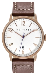 Ted Baker Round Leather Strap Watch 42Mm Brown Rose Gold