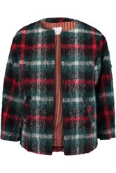 Stella Jean Checked Boucl And Eacute Jacket Dark Green