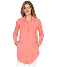 Mod O Doc Slub Jersey Button Front Shirt Cali Coral Women's Long Sleeve Button Up Pink
