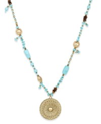 Macy's Gold Tone Beaded Medallion Pendant Necklace Turquoise