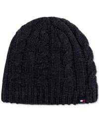 Tommy Hilfiger Men's Fleece Lined Cable Hat Charcoal