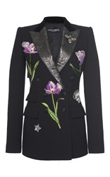Dolce And Gabbana Floral Embellished Blazer Black