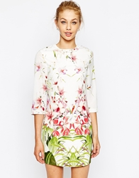 Ted Baker Tunic Dress In Mirrored Tropical Print Ivory