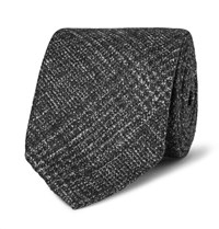 Thom Sweeney 8Cm Checked Wool Silk And Cashmere Blend Tie Black