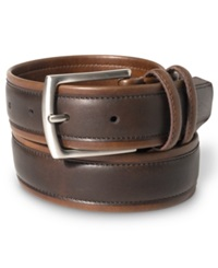 Nautica 35Mm Tubular Overlay Leather Belt Brown