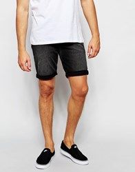 Asos Denim Shorts In Skinny Vintage Charcoal Grey