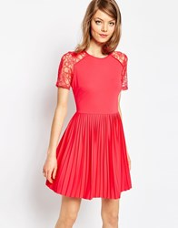 Asos Pleat And Textured Mini Dress With Lace Inserts Coral