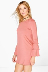 Boohoo Long Sleeve Shift Dress Antique Rose