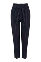 Topshop Tall Pinstripe Paperbag Trousers Navy Blue