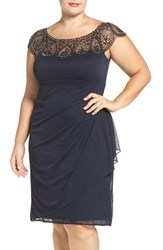 Xscape Evenings Plus Size Women's Embellished Yoke Ruched Cocktail Dress