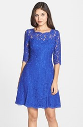 Eliza J Women's Lace Fit And Flare Dress Electric Blue