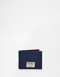 Jack Wills Dallington Canvas Billfold Wallet Blue