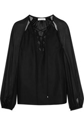 Altuzarra Benny Cutout Georgette Paneled Silk Blouse Black