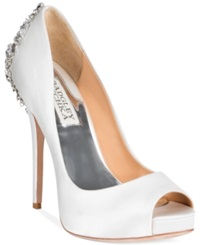 Badgley Mischka Kiara Platform Evening Pumps Women's Shoes White Satin