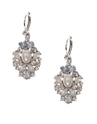 Marchesa Bohemian Dream Swarovski Crystals Drop Earrings Silver