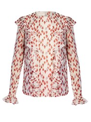 Giambattista Valli Flower Bud Print Ruffled Silk Georgette Blouse Red Multi