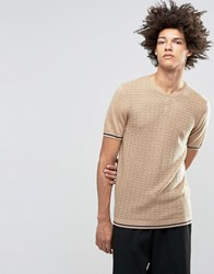 Asos Knitted T Shirt With Grandad Neck In Merino Wool Mix Sable Navy Stripe Beige