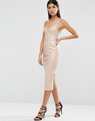 Asos Pu Bodycon Dress Putty Beige