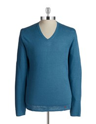 Strellson V Neck Knit Pullover Blue