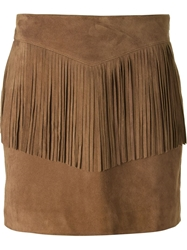 Saint Laurent Fringed Mini Skirt Brown