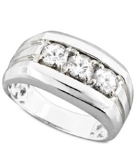 Macy's Men's Three Stone Diamond Ring In 14K White Gold 1 Ct. T.W.