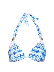 Heidi Klein Ventura Tie Dye Push Up Bikini Top Blue White