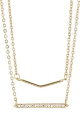 Jules Smith Designs Women's Crystal Bar And Chevron Charm Necklace Gold
