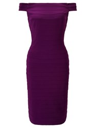 Adrianna Papell Off Shoulder Bandeau Dress Purple