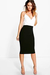 Boohoo Wrap Top Contrast Skirt Midi Dress Black