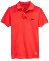 Superdry Men's Vintage Destroyed Pique Polo Sunkissed Red